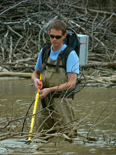 Electrofishing for Northern Snakehead (Channa argus) in the central wetland area at Huntley Meadows Park, Fairfax County, Virginia USA.