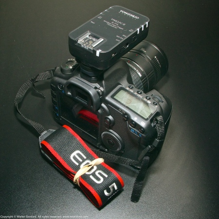 Canon EOS 5D Mark II DSLR camera plus Yongnuo YN622C II Wireless Flash Trigger Transceiver.