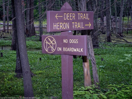 Signage at Huntley Meadows Park, Fairfax County, Virginia USA.