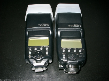 External flash units for Canon digital cameras: Canon 580EX Speedlite; Canon 580EX Speedlite II.
