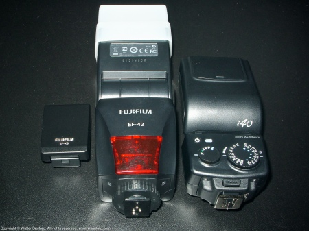 External flash units for Fujifilm X-T1 digital camera: Fujifilm EF-X8; Fujifilm EF-42; Nissin i40.