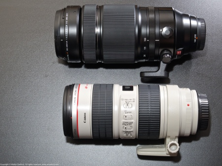 A side-by-side comparison of the Canon EF70-200mm f/2.8L and Fujinon XF100-400mm zoom lenses.
