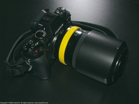 Fujifilm X-T1 and 55-200mm zoom lens plus LENSband (Yellow).