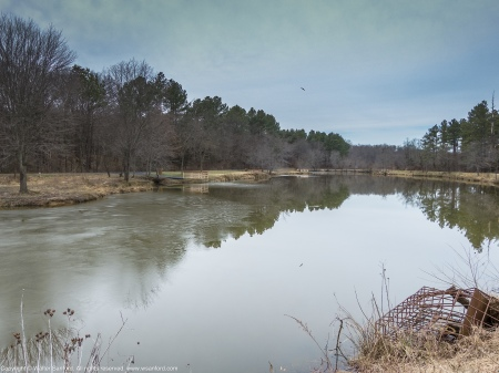 A 32-bit HDR composite image created from three photos of Mulligan Pond, Jackson Miles Abbott Wetland Refuge, Fairfax County, Virginia USA, +/- two stops of exposure.