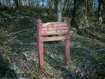Signage near building ruins in an unknown location at Huntley Meadows Park, Fairfax County, Virginia USA.