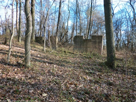 Building ruins as viewed from an unknown location at Huntley Meadows Park, Fairfax County, Virginia USA.