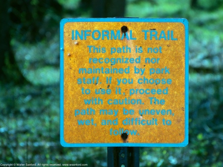 "A sign posted near the ""Bridge to Nowhere,"" located along an informal trail at Huntley Meadows Park, Fairfax County, Virginia USA."