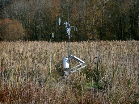 The new automated weather station located in the central wetland area at Huntley Meadows Park, Fairfax County, Virginia USA.