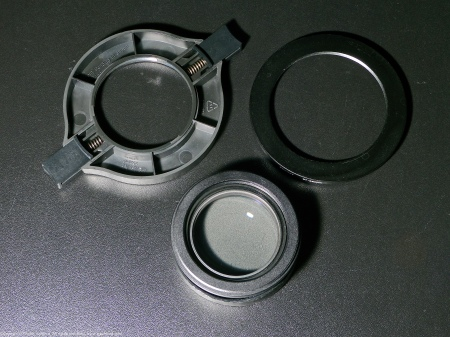 Several mounting adapters for Raynox DCR-250 close-up filter.